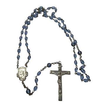 Vintage Catholic Blue Glass Beaded Rosary