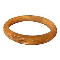 Vintage Carved Butterscotch Bakelite Bracelet