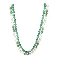 Faux Pearl  and Green Aventurine Double Strand Beaded Necklace