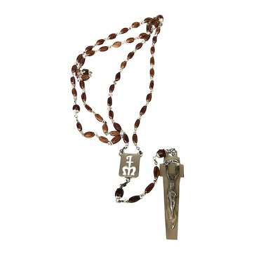 Creed Sterling Silver Rosary with Wood Beads