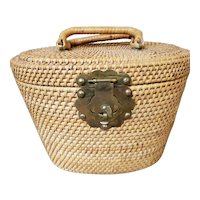 Handmade Wicker Two Handle Oval Lidded Basket with Brass Fish Latch