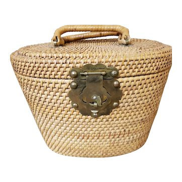 Handmade Wicker Two Handle Oval Lidded Basket with Brass Fish Latch