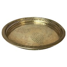 Mid Century Modern Brass Round Serving Tray with Etching of Grape Bunches