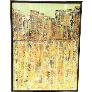Mid Century Modern Oil On Canvas Painting by A. Voss