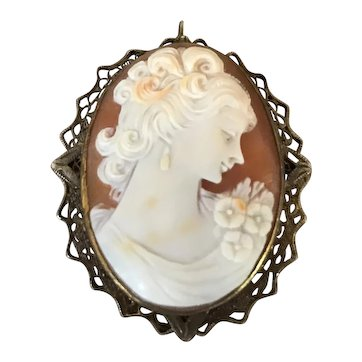 12Kt Gold Filled Hand Carved Turn of the Century Cameo Brooch / Pendant