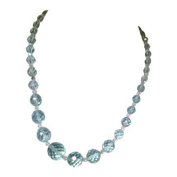 Vintage Light Blue Facet Cut Glass Beaded Necklace