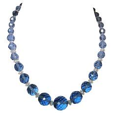 Vintage Blue Cut Glass Beaded Necklace