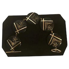 1930's Engraved Black Lucite Bracelet, Toggle Clasp & Applied Metal