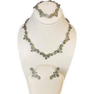 Mexican Sterling Silver with Crushed Turquoise Jewelry Set Signed JR, Includes Necklace, Bracelet and Screw-back Earrings