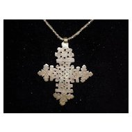 """Hammered Cross Necklace On 26"""" Beaded Chain"""