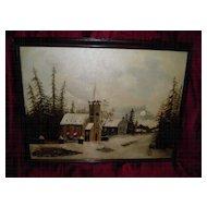 Vintage Folk  Art Oil On Canvas  Painting