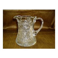 "Beautiful Vintage Brilliant Cut Glass Pitcher 6 1/2"" High"