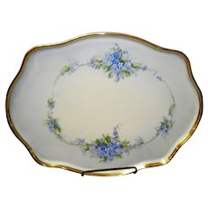 Large Antique Hand Painted Limoges Dresser Tray