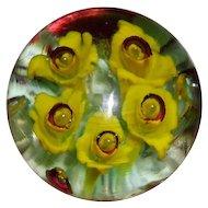 Ken Rosenfeld Floral Jonquil Glass Art Paperweight