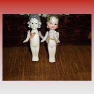 Set Of 2 Miniature Bisque Dolls