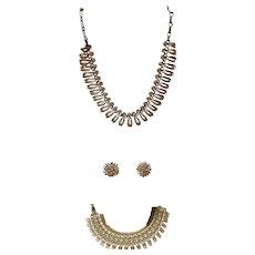 Vintage Lisner 3 Piece Rhinestone Set Necklace Bracelet & Earrings