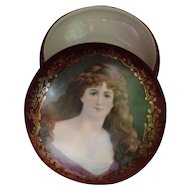 Antique German Porcelain Box With Picture of a Victorian Lady