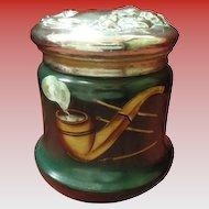 Vintage Glass Humidor With Metal Lid