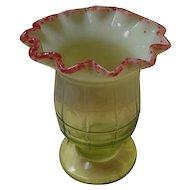 Vintage Vaseline Glass Celery Vase / Holder with Cranberry Trim