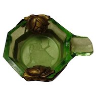 Art Deco Green Depression Vaseline Glass Personal Ashtray with Flower Overlay