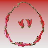 Vintage Coral Lucite Thermoset Necklace & Earrings Set