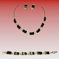 Dark Green Lucite Thermoset Necklace, Bracelet & Earrings