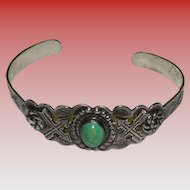 Sterling Silver & Turquoise Bracelet Signed With Arrow