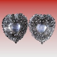 Set Of 2 Gorham Heart Shaped Sterling Silver Bonbon Dishes