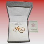 Vintage Krementz Floral Brooch / Pin In Original Box