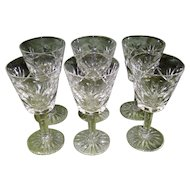 Set Of 5 Signed Waterford Crystal Ashling Cut Champagne/Tall Sherbet Glasses
