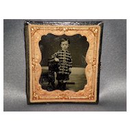 Antique Tin Type Picture Of A Little Boy In Case