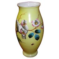 Hand Painted Yellow Bristol Vase with Birds and Flowers
