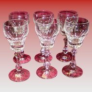 Set Of 6 Lead Crystal Cordial Glasses