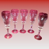 Set Of 5 Lead Crystal Champagne Glasses