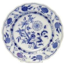 "9.5"" Blue On White Onion Pattern Meissen Shallow Bowl"