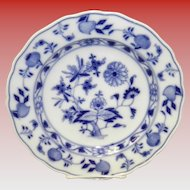 "9.5"" Blue On White Onion Pattern Meissen Plate"