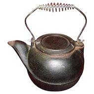 Large Heavy Cast Iron Tea Kettle Tea Pot Swivel Slide Lid Coil Handle