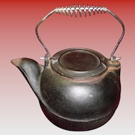 Large Heavy Cast Iron Tea Kettle Tea Pot Swivel Slide Lid Coil Handle