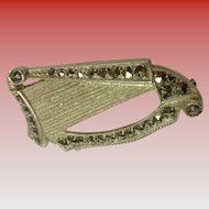German 925 Silver & Marcasite Harp Pin Brooch