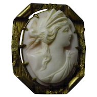 Bone White with Light Pink Carved Shell Cameo Pin