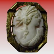Shell Carved Cameo Pin