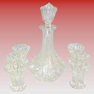 Cut Glass Decanter Set With 6 Glasses