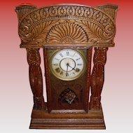 Antique Ingraham Gingerbread Mantel Clock With Key