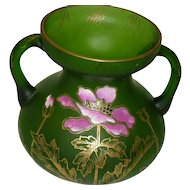 Victorian Hand Painted Etched Art Glass Vase