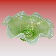 Green Opalescent Art Glass Bowl