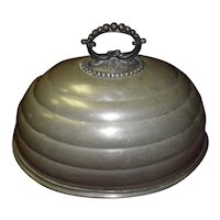 English Pewter Meat Dome with an Ornate Handle Circa 1800's