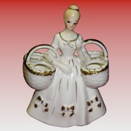 Vintage Porcelain Lipstick Holder / Women With Baskets Figurine Japan