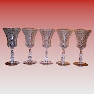 Set Of 5 Cambridge Chantilly Water / Wine Goblets