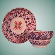 c1835 Staffordshire Pearlware red and blue Sponged Spatterware teacup and saucer