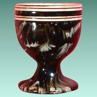 c1860 Creamware Egg Cup with mocha brown and white feathered slip decoration (impressed MacIntyre)